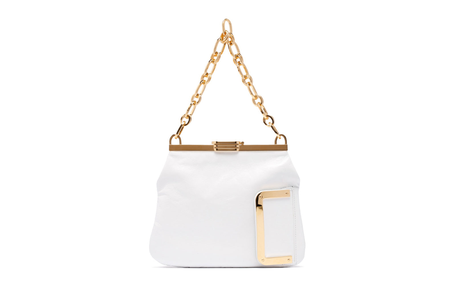5 AM Clutch in White Calfskin Leather with 24k Gold Dipped Hardware