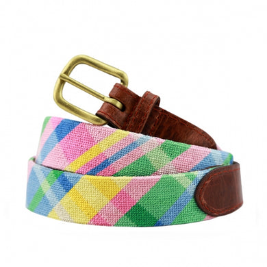 Spring Madras Needlepoint Belt