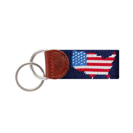 USA Map ( Dark Navy) Needlepoint Key Fob