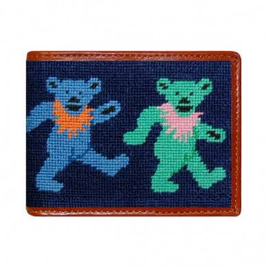 Dancing Bears Needlepoint Bi-Fold Wallet