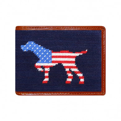 Patriotic Dog on Point Needlepoint Bi-Fold Wallet