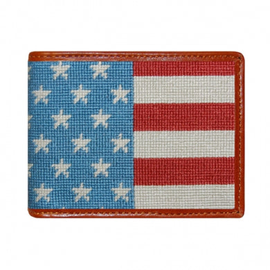 Stars and Stripes Needlepoint Bi-Fold Wallet