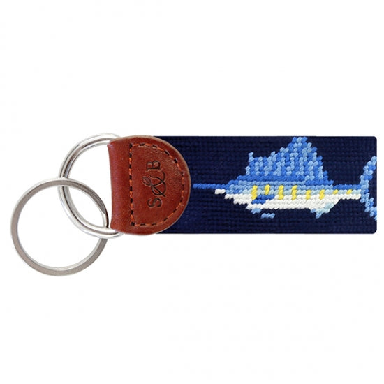 Billfish (Navy) Needlepoint Key Fob