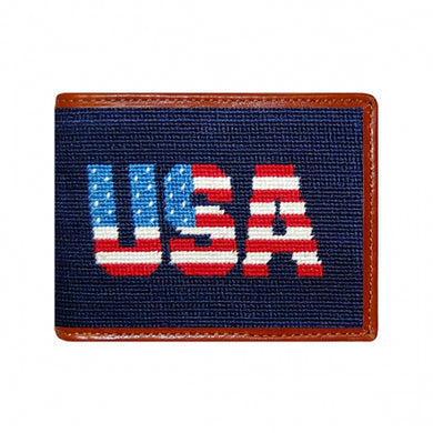 Patriotic USA Needlepoint Bi-Fold Wallet