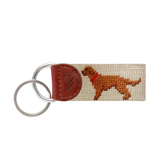 Chocolate Lab Needlepoint Key Fob