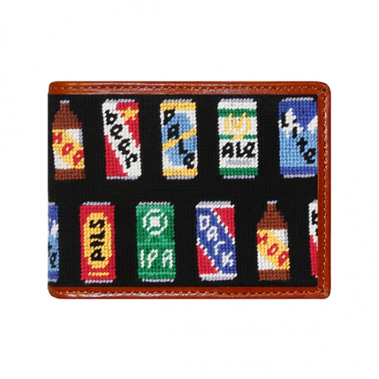 Beer Cans Needlepoint Bi-Fold Wallet