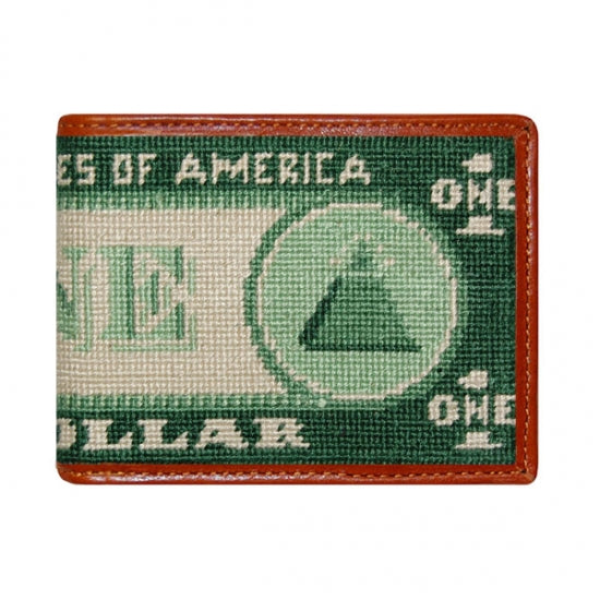 Dollar Bill Needlepoint Bi-Fold Wallet