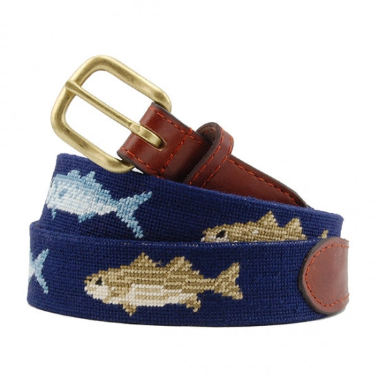 Bluefish and Striper Needlepoint Belt