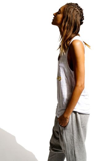 Distressed Oversized Tank with Gold Arabic Graphics