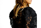 Oversized Sleeves black lace top
