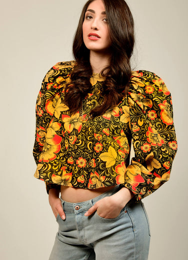bright floral top