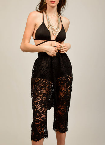 black lace pants