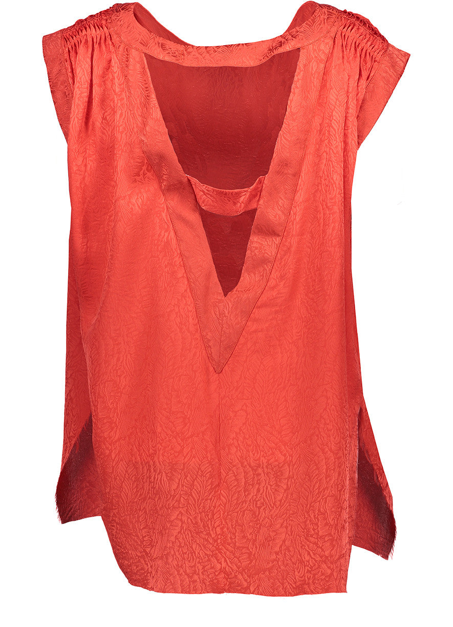 Tan Lines Top / Hot Red Silk