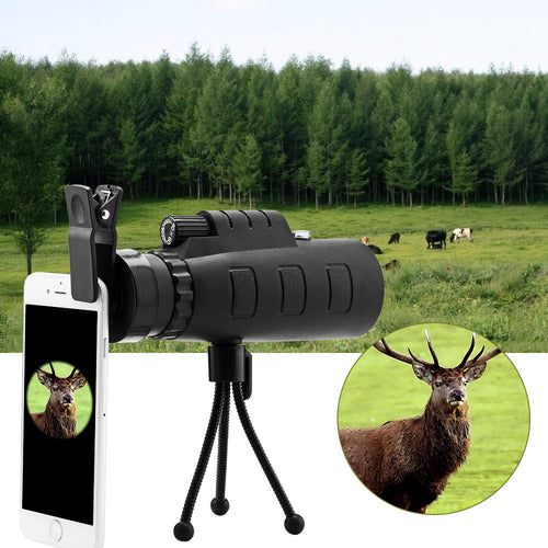 40x60 HD Optical Monocular Telescope Phone Lens with Phone Clip and Tripod for Ball Game Concert Theater Opera with Green Film Multicoated Glass Lens and BK4 Prism