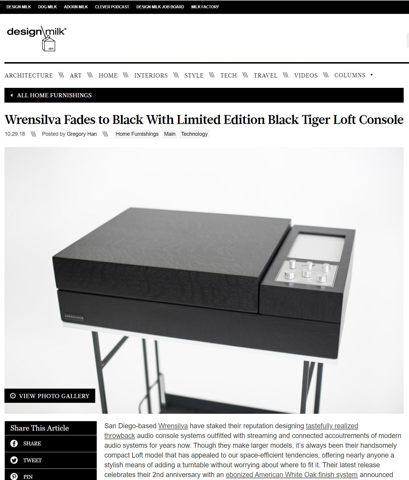 Design Milk Wrensilva Black Tiger Record Console