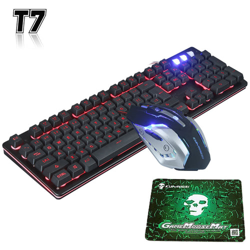 "The ""T7"" -  Backlit Ergonomic Gaming Keyboard + Mouse Combo"