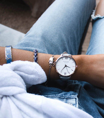 Women's Rose Gold and Fog Leather Watch