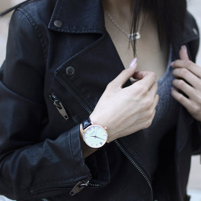 Women's Rose Gold and Black Leather Watch