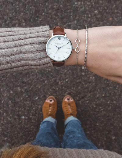 Women's Silver & Brown Leather Band Watch