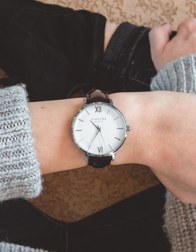 Women's Silver and Black Leather Watch