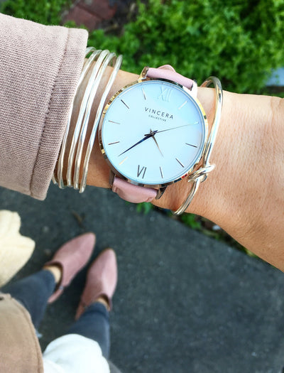 Women's Silver & Pink Leather Band Watch