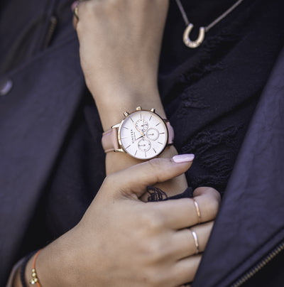 Women's Pink & Rose Gold Chronograph Watch