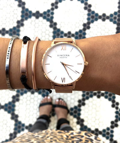 Women's Rose Gold Mesh Watch