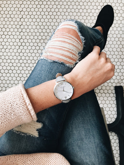 Women's Silver & Gray Leather Band Watch