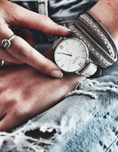 Women's Silver and Gray Leather Watch