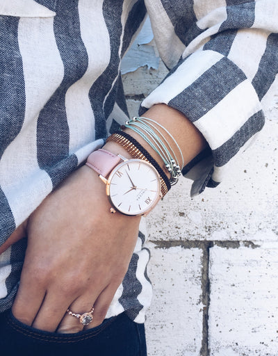 Women's Rose Gold & Pink Leather Band Watch