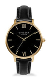 Women's Gold & Black Leather Band Watch