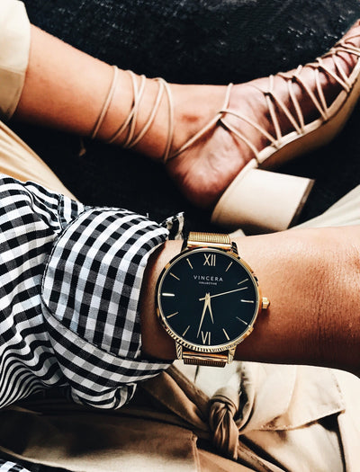 Women's Black and Gold Mesh Watch