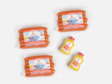 feltmans original bundle include three 6-packs of natural casing hot dogs and two bottle of feltman's deli style mustard