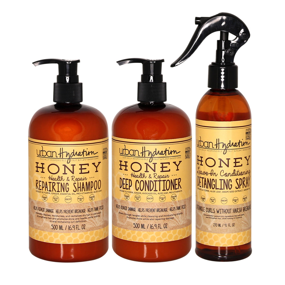 Honey Health & Repair 3-Piece Set: Shampoo, Conditioner, Detangling Spray / Leave-In