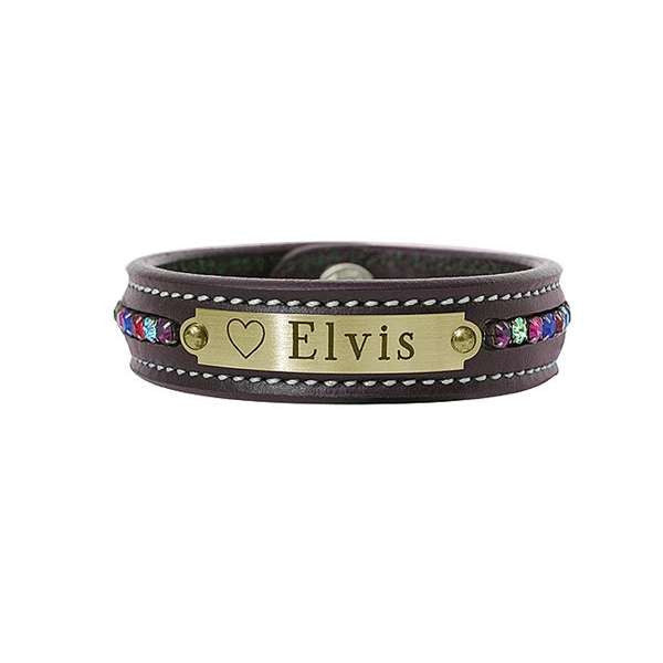 FoxHuntingShop.com-Engraved Leather Bracelet with Crystals