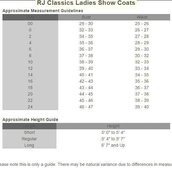 FoxHuntingShop.com-Ladies' Aiken Canary Hunt Vest size chart