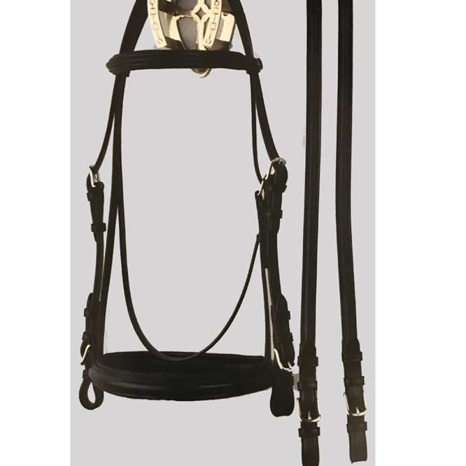 FoxHuntingShop.com-Padded Dressage Bridle No Flash 933 - Black