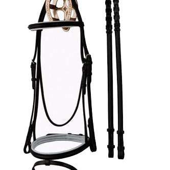 FoxHuntingShop.com-Padded Black & White Dressage Bridle with Flash