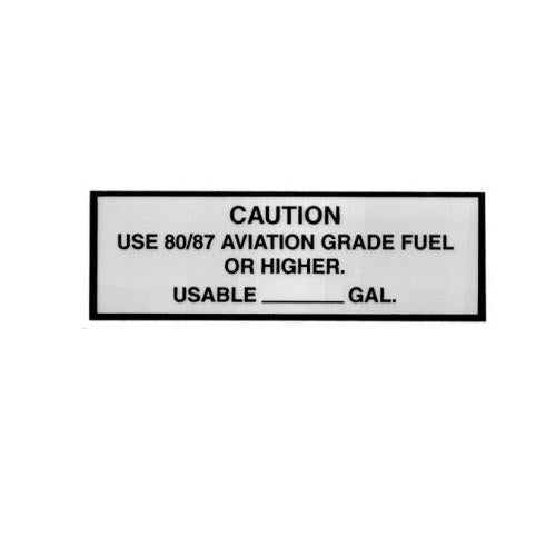Sticker Caution Use 80/87 Avgas Placard