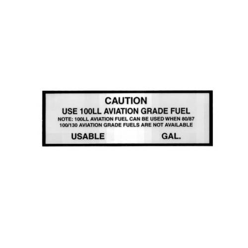 Sticker Caution Use 100LL Avgas Placard