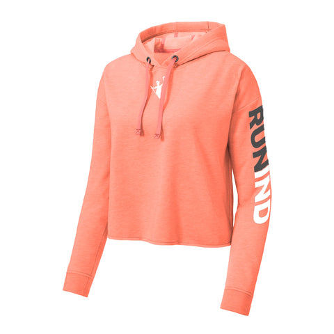 Ladies PosiCharge Tri Blend Wicking Fleece Crop Hoodie