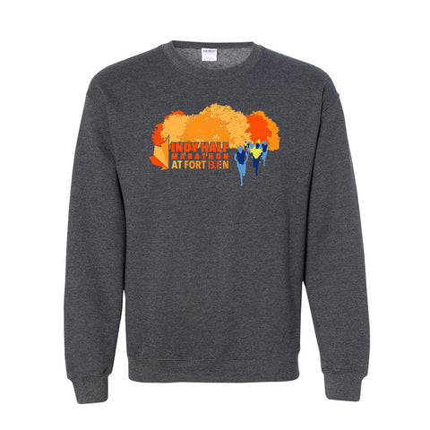 Indy Half Marathon at Fort Ben Crewneck Sweatshirt - Grey