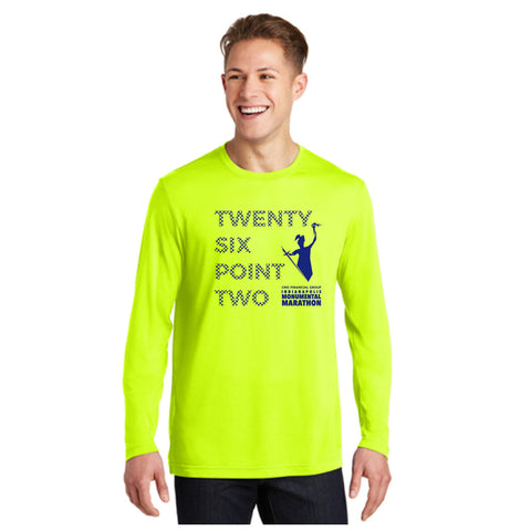 NEW Neon Yellow  Long Sleeve 26.2 Marathon Tee