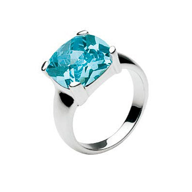 Cushion Blue CZ Sterling Silver Cocktail Ring