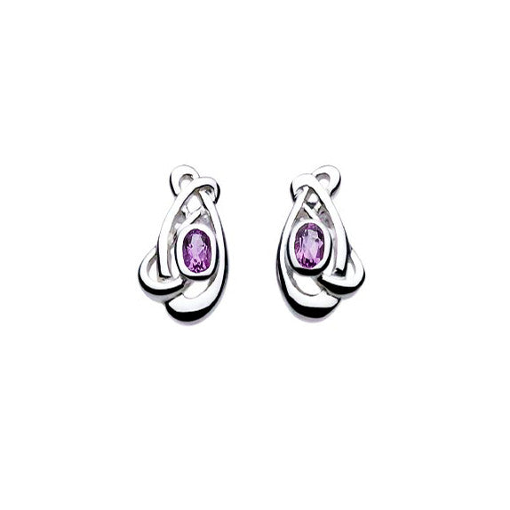 Art Nouveau Planet Amethyst Sterling Silver Stud Earrings