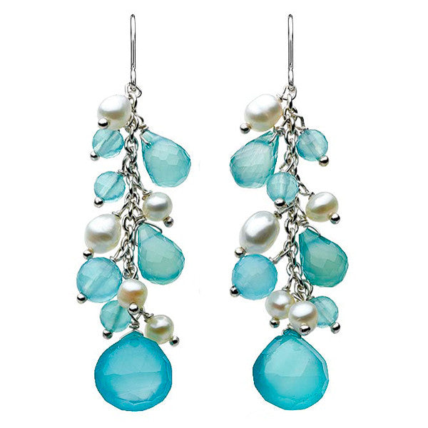 Fancy Sea Blue Chalcedony and Pearls Sterling Silver Drop Earrings