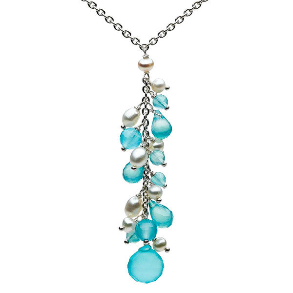 Fancy Sea Blue Chalcedony and Pearls Sterling Silver Necklace