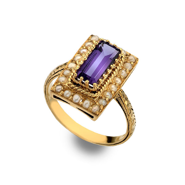 9ct Gold Antique Inspired Amethyst and Pearl Ring