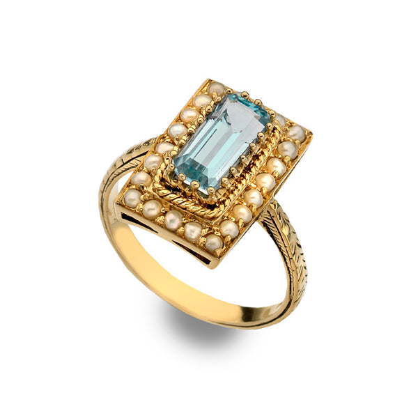 9ct Gold Art Deco Blue Topaz and Pearl Ring
