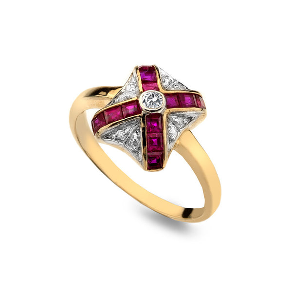 9ct Gold Art Deco Ring with Ruby and Diamond